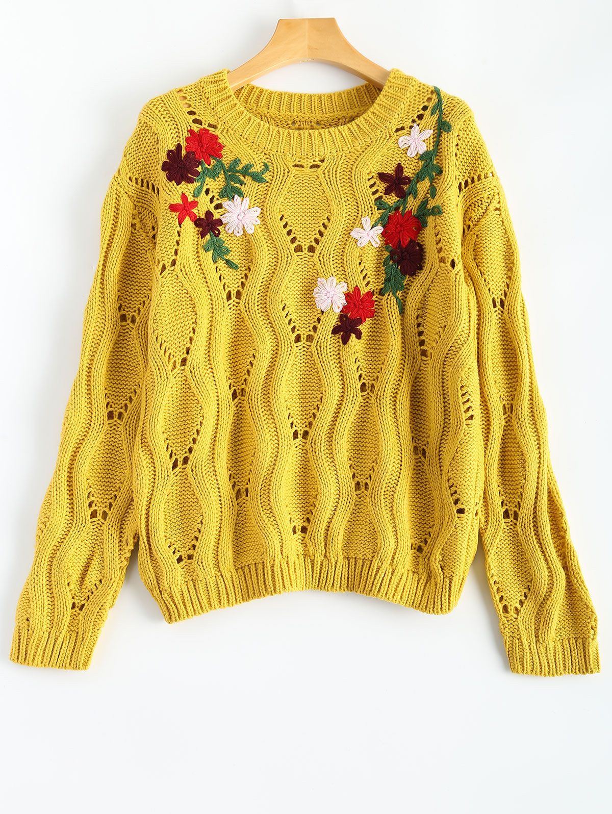 874916403 Retro Floral Embroidered Sweater