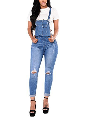 3f015848e76 New Bulawoo Bulawoo Women Distressed Ripped Skinny Jeans Bib Denim Overalls  Jumpsuits Women's Fashion Clothing online. Women's Fashion [$25.99 - 31.99]  ...