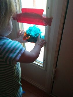 Window Bag Painting.  Mess free. Artistic. Fun. And a really cool play on lighting.