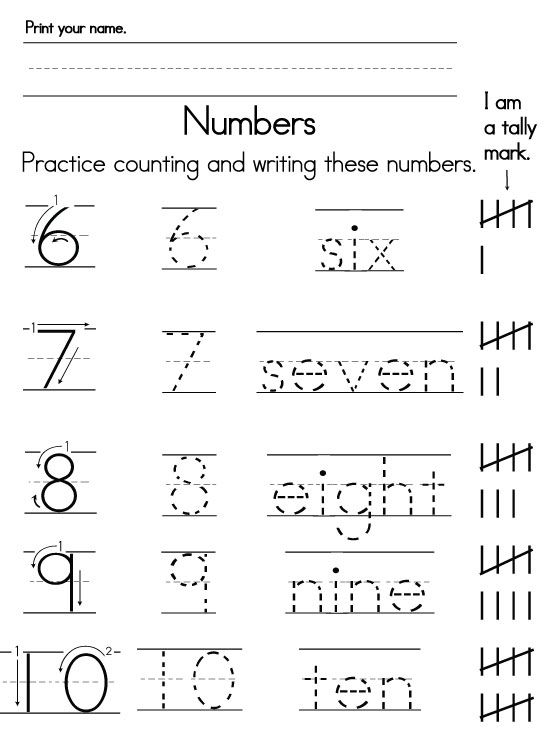 Tracing and Writing Number Words 610 – Writing Numbers Worksheet for Kindergarten