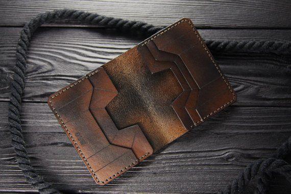 Stilvolle Leder Kompakte Geldbörse Die Auf Der Vorderseite