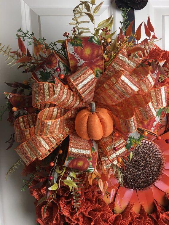 Photo of Burlap Fall SunFlower Wreath, Fall Decor, Autumn Door Decor, Front Door Decor