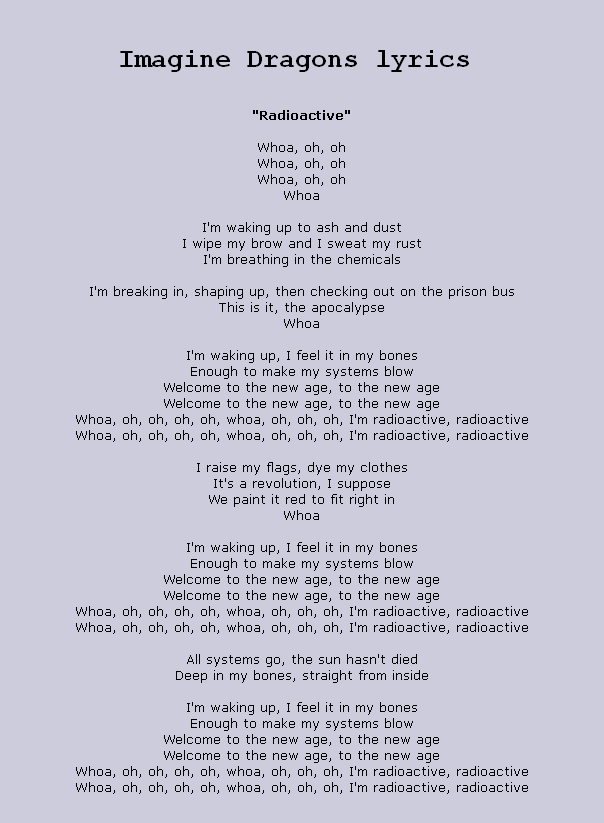 Imagine Dragons - Radioactive Lyrics