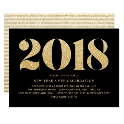 gold glitter 2018 new years eve party invitation