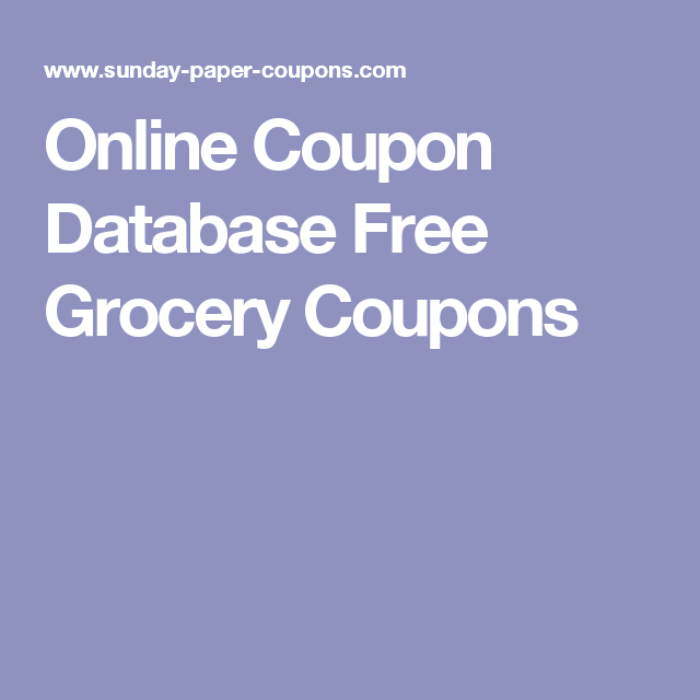 Online Coupon Database Free Grocery Coupons