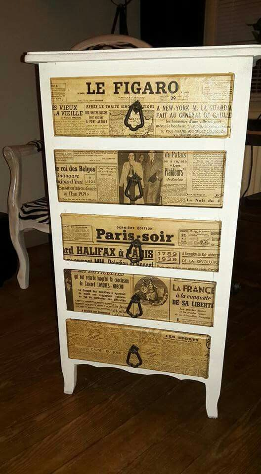 Meuble à tiroirs, peinture Libéron + vieux journaux DIY - Déco