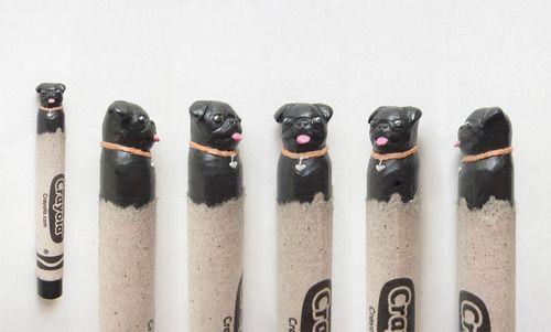 Black pug carved crayon