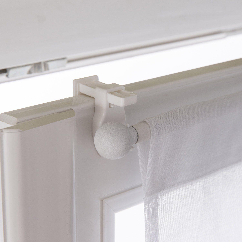 Barres À Rideaux Pose Sans Perçage lot de 2 supports autoserrant barre de vitrage, 10 mm blanc