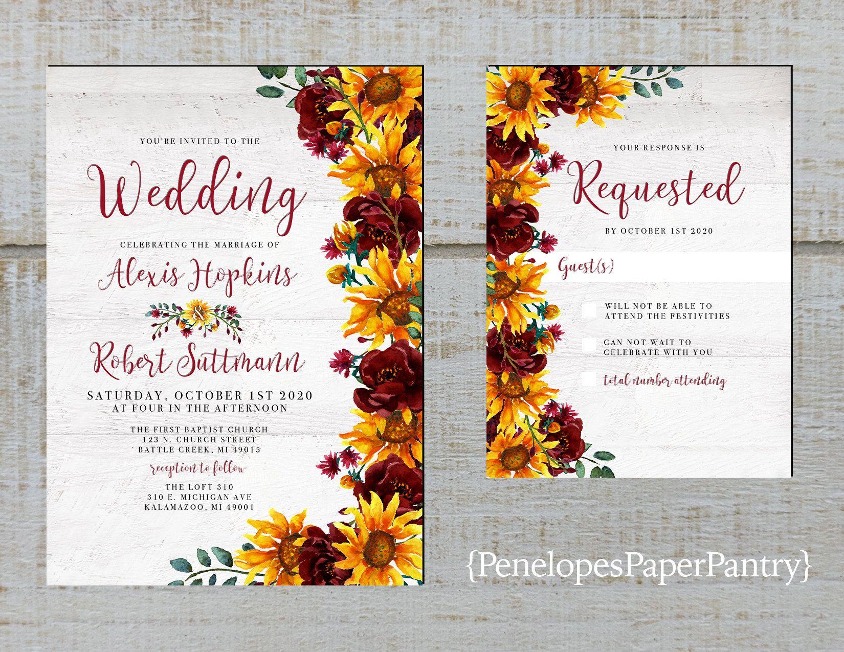 Rustic Sunflower Wedding Invitation,Sunflowers,Burgundy