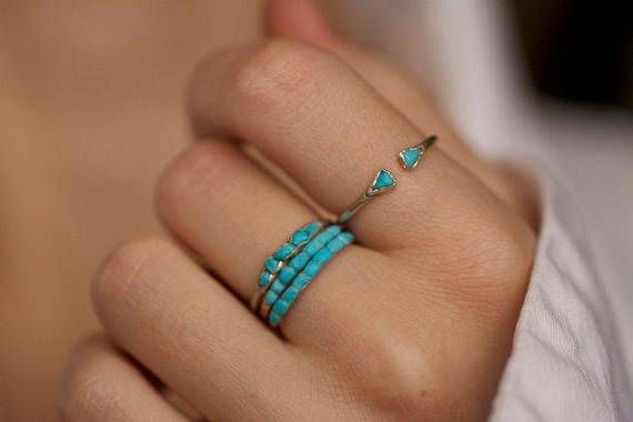 086fd5a9f78cde Turquoise Ring. Dainty Sleeping Beauty Turquoise Band Ring ...