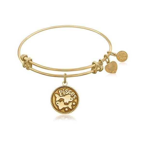 Expandable Bangle in Yellow Tone Brass with Pisces Symbol ❤ liked on Polyvore featuring jewelry, bracelets, bangle bracelet, brass jewelry, expandable bangles, brass bangle bracelet and bangle jewelry