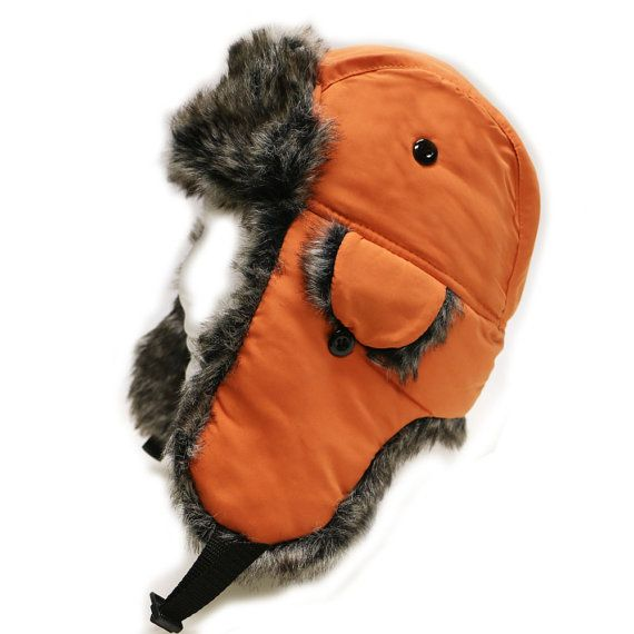 Capsule Design Extra Warm Winter Solid Bomber Trapper Hat with Faux Fur  Orange 045835d5671