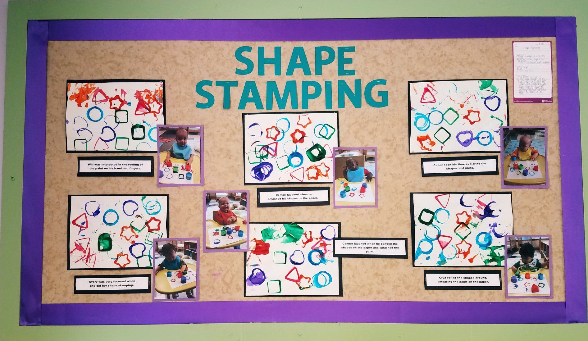 Shape Stamping Bulletin Board Infant Art Projects Shapes And Colors Unit Baby Art Projects Infant Toddler Classroom Preschool Arts And Crafts