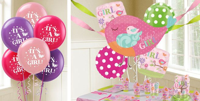 Tweet Baby Girl Balloons Party City Pink Green Baby Shower