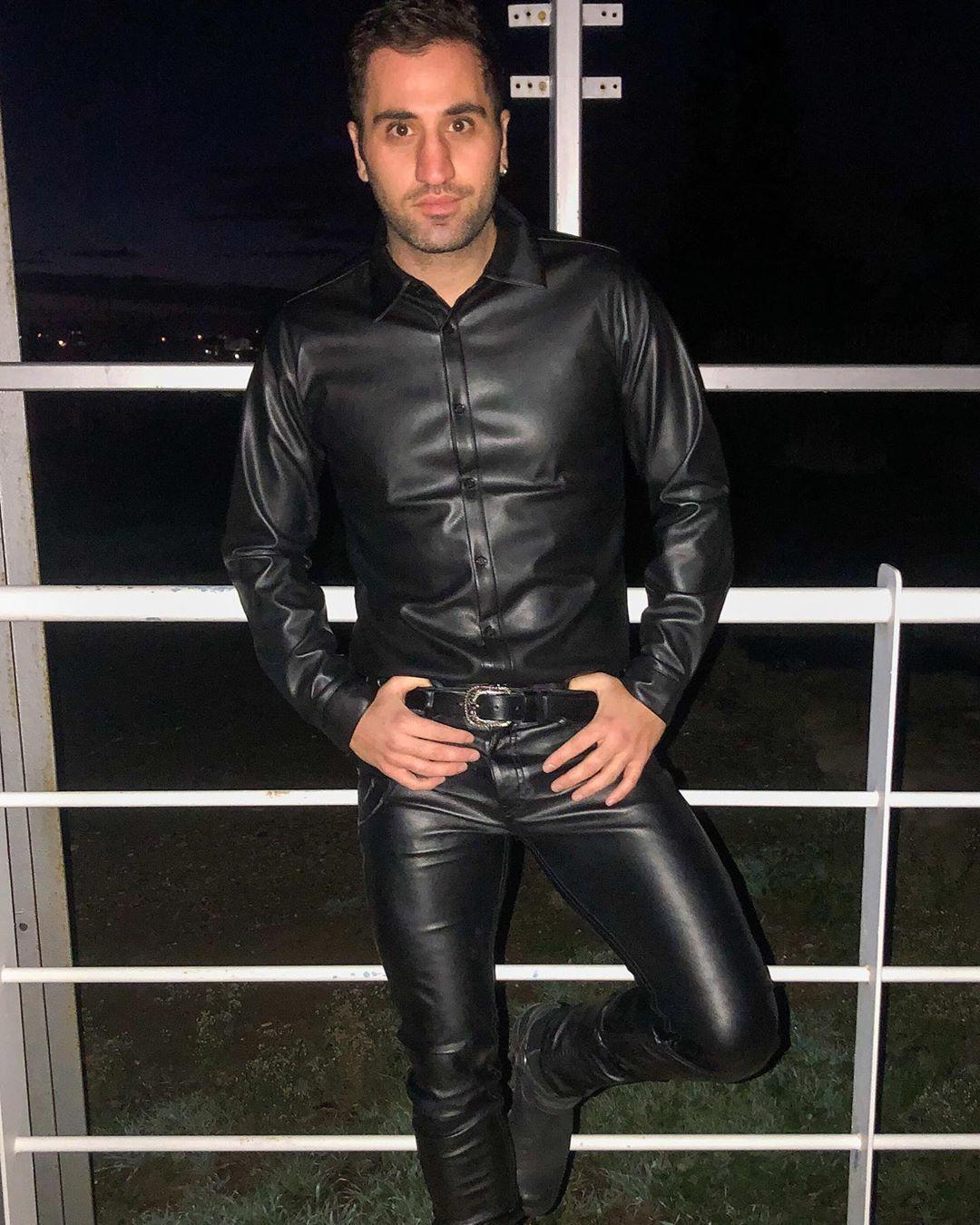 Slave247ready Leather Jacket Men Leather Pants Tight Leather Pants [ 1350 x 1080 Pixel ]