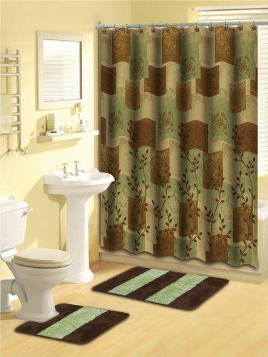 Brown Green Leaf 15 Piece Bathroom Set 2 Rugs Mats 1 Shower