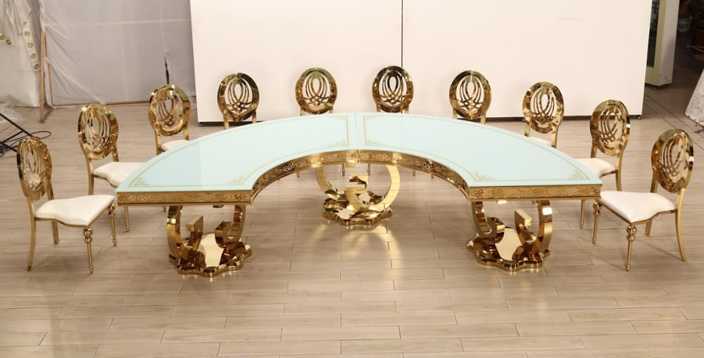 Hot Item Foshan Gold Stainless Steel Round Moon Table Banquet