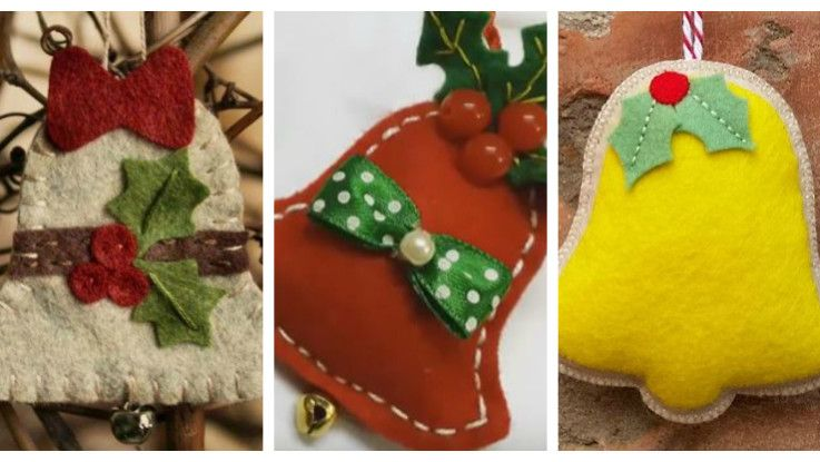 felt christmas bell ornaments BELL ringsANGEL wings Pinterest