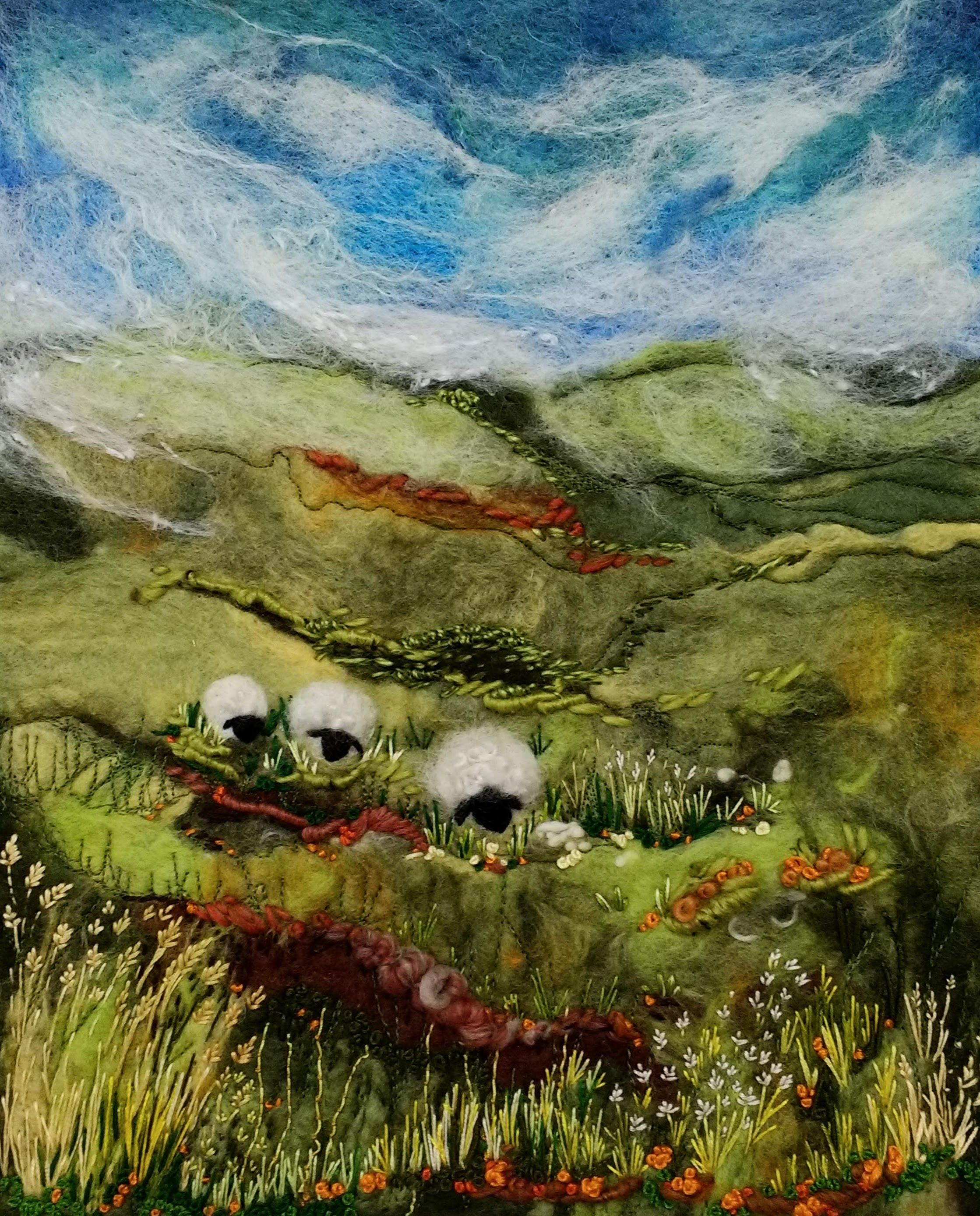 Scottish Hillside Felted Wool Art