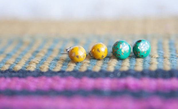 (via Polymer Clay And Confetti Foil Stud Earrings)