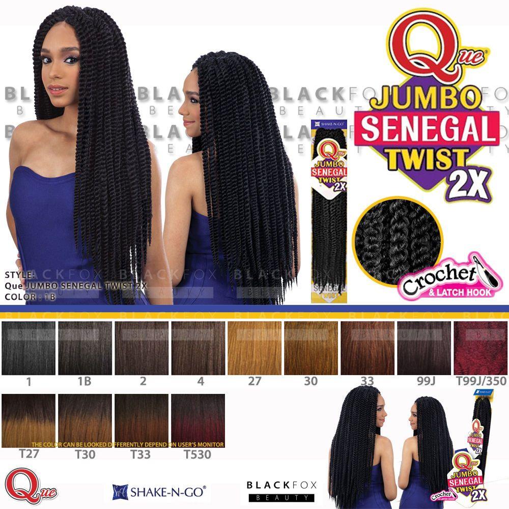 Que Jumbo Senegal Twist 2x Crochet Bulk Braiding Hair Havana