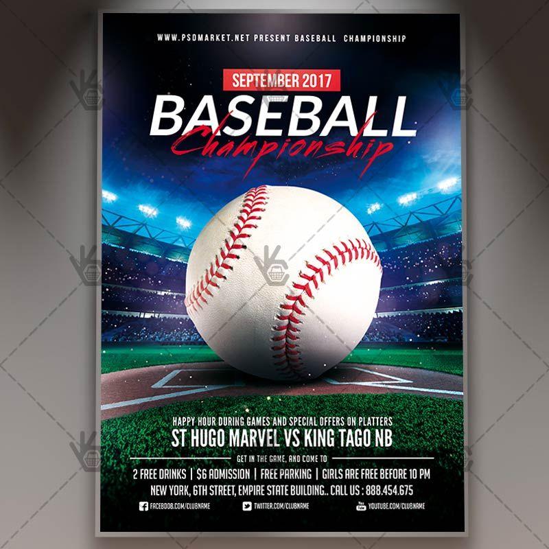 Baseball Championship - Premium Flyer PSD Template #baseball - baseball flyer