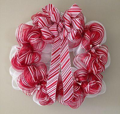 "24"" Christmas Peppermint Deco Mesh Wreath"