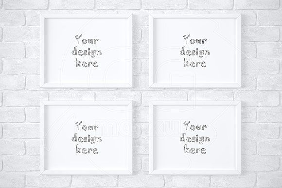 4 white frames on brick wall mockup by CGmockup on @creativemarket ...