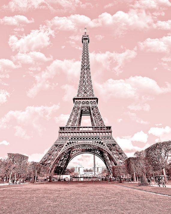 Paris in pink eiffel tower paris decor france digital for Art decoration france