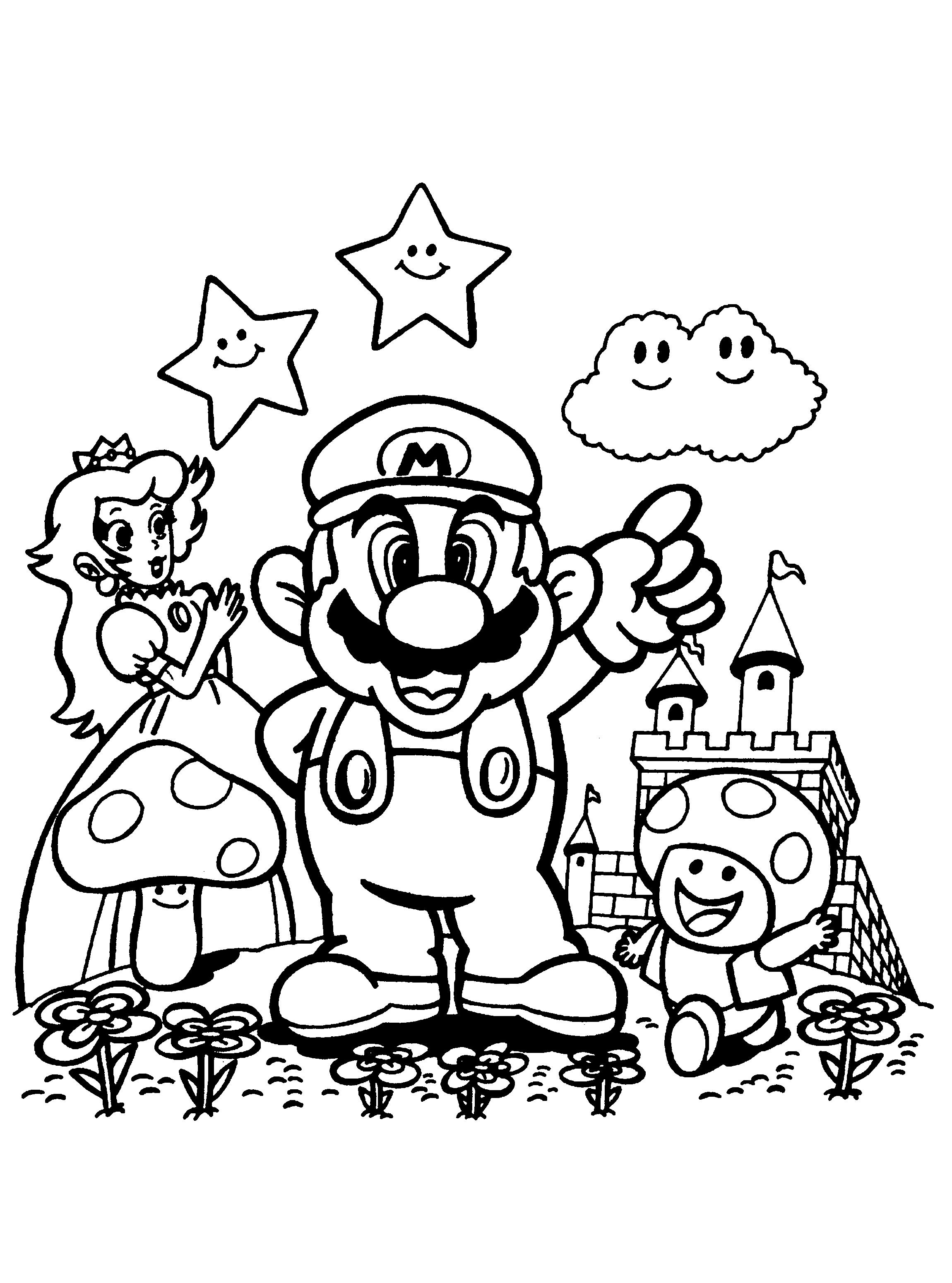 Kleurplaten Mario Party 10.Prinses Paddestoel En Mario Mario Bros Super Mario Coloring