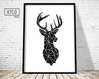 Blush Deer Print Deer Wall Art Deer Poster Scandinavian