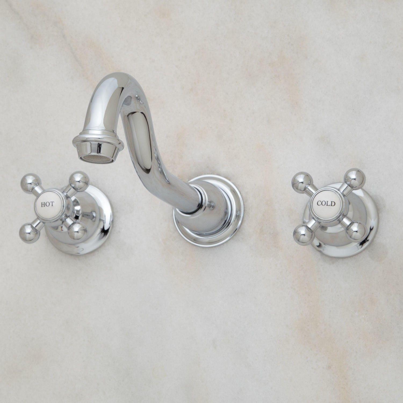 Ballantine Wall-Mount Bathroom Faucet - Cross Handles | Wall mount ...