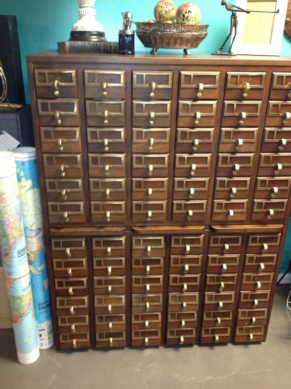 Library Card Catalog 72 Drawers Brass Hardware By Alyspicks