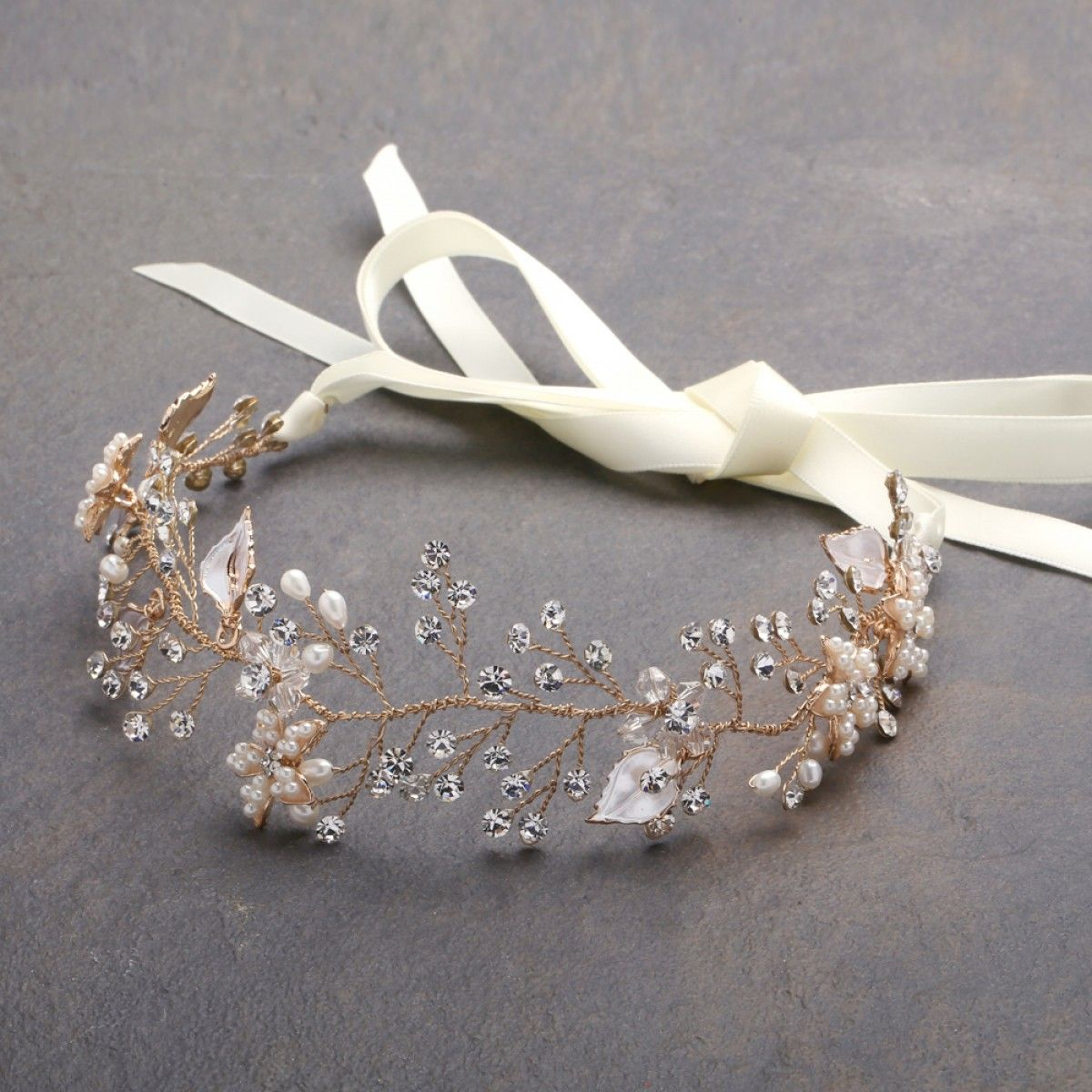 Designer bridal headband with hand painted gold and silver leaves