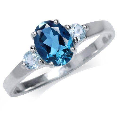 Vintage geniune London blue topaz White Sapphire Golden 925 sterling silver Ring
