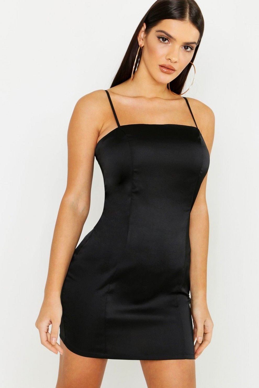 Satin Square Neck Bodycon Dress Boohoo Bodycon Dress Neck Bodycon Dress Black Bodycon Dress [ 1485 x 990 Pixel ]