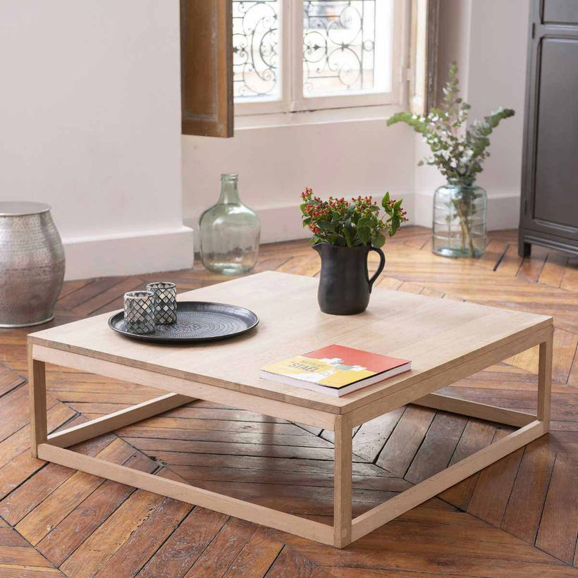 Table Basse Carree En Chene Naturel Fsc Mood En 2020 Table Basse Carree Table Basse Table