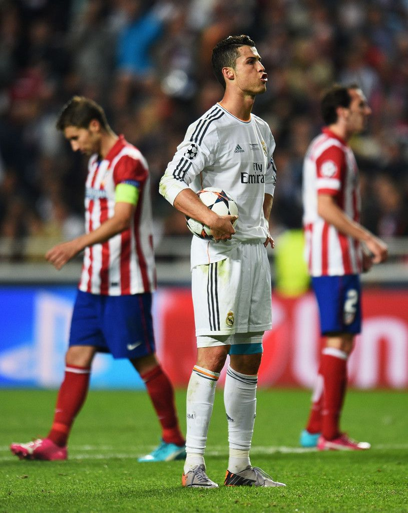 Cristiano Ronaldo Prepares To Take A Penalty Shot During The Uefa Champions League Final Match Between Real Ma Club Atlético De Madrid Cristino Ronaldo Ronaldo