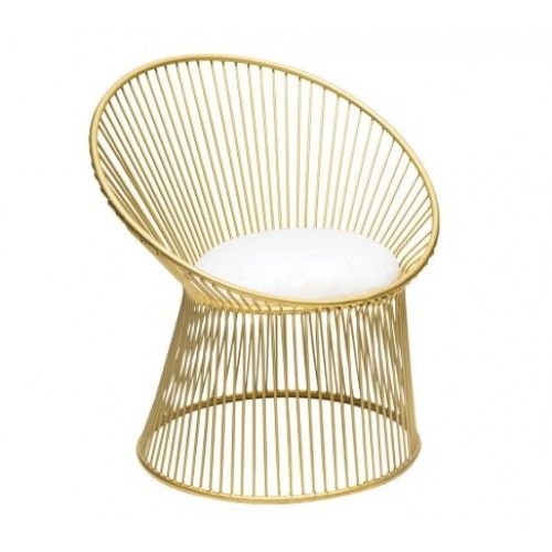 Accent Chair With Cage Bottom: Gold Cage Frame White Linen Seat Accent Chair In 2019