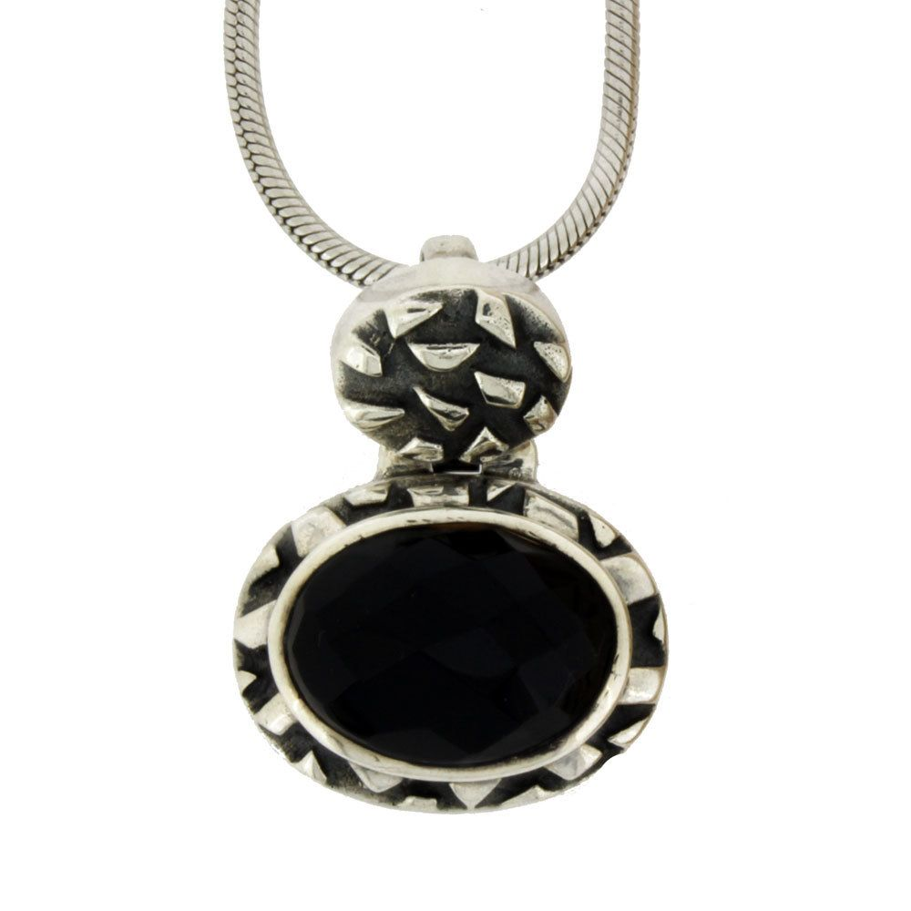 "Purple Leopard Boutique - Faceted Black Onyx Sterling Silver Pendant with 18"" Snake Chain, $141.00 (http://www.purpleleopardboutique.com/faceted-black-onyx-sterling-silver-pendant-with-18-snake-chain/)"