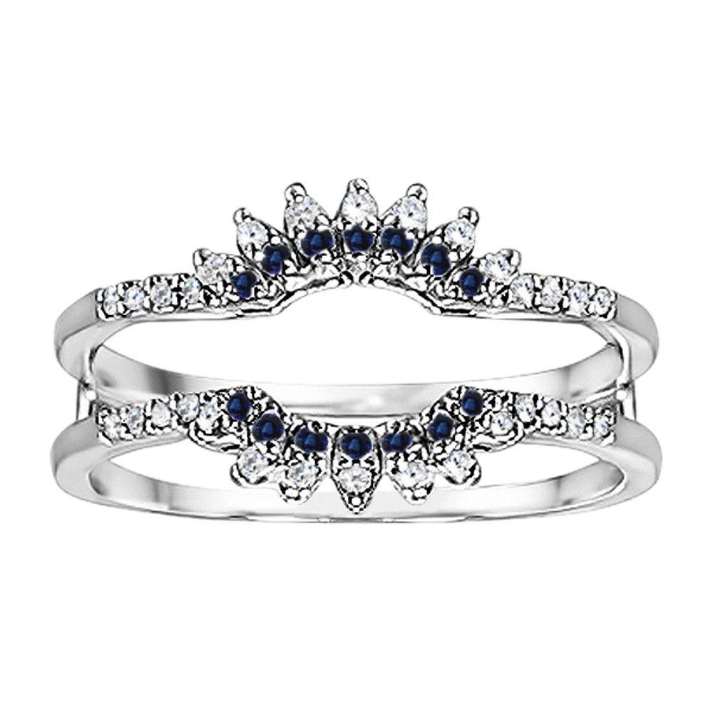 Cheap genuine sapphire wedding ring guard by twobirch