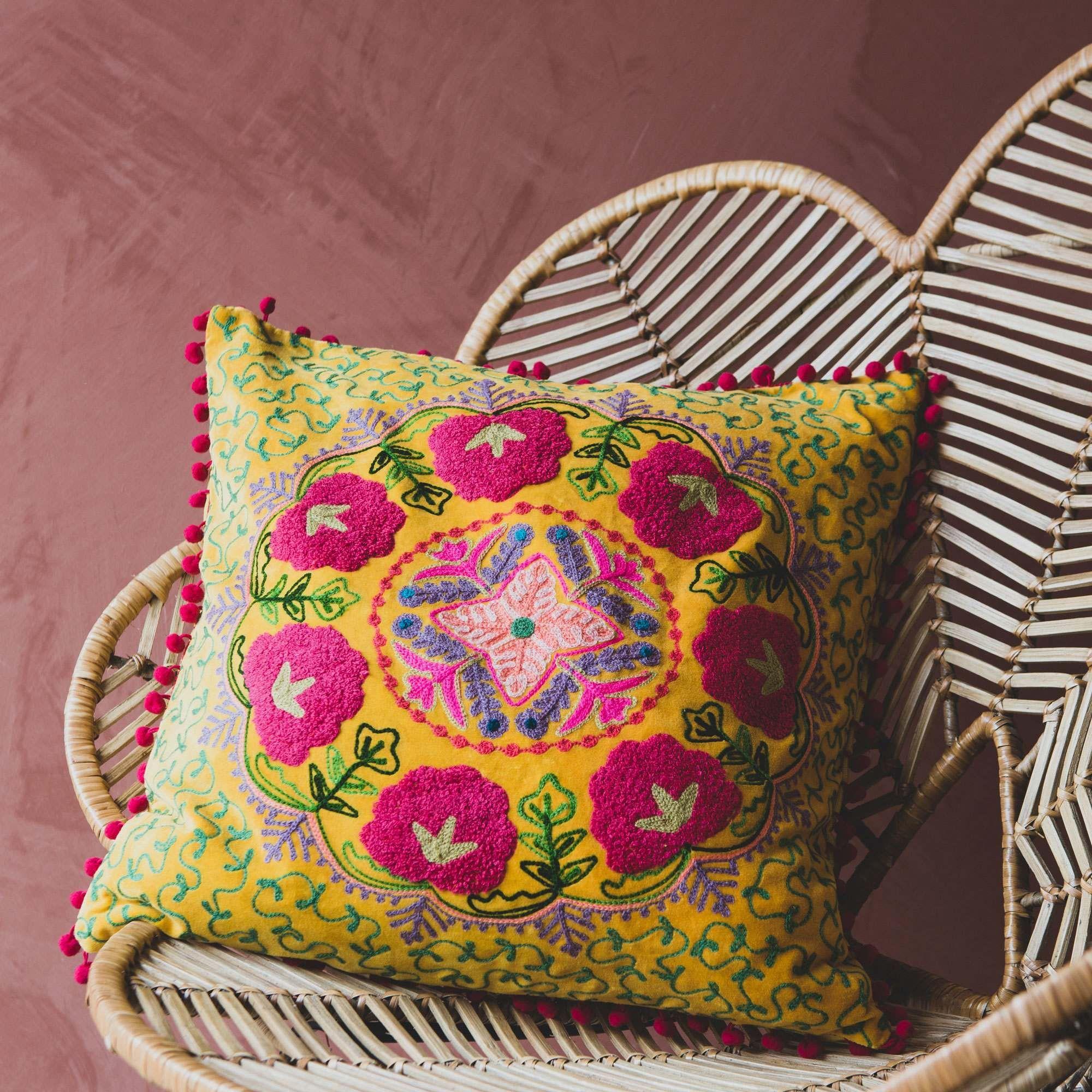 Medium Mustard Velvet Boho Cushion Boho Cushions Velvet Cushions Embroidered Cushions