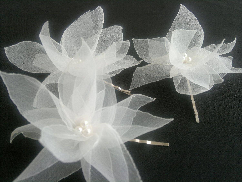Handcraft light ivory lotus flowers wedding hair pins set of 3 handcraft light ivory lotus flowers wedding hair pins set of 3 comb dhlflorist Image collections