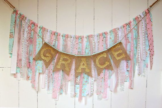 Pink Aqua Birthday Banner Burlap Name by CherishedTreasures13
