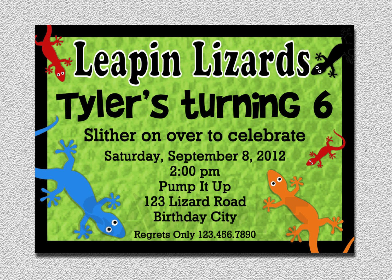 Lizard Reptile Birthday Invitation Lizard Reptile Birthday Party ...