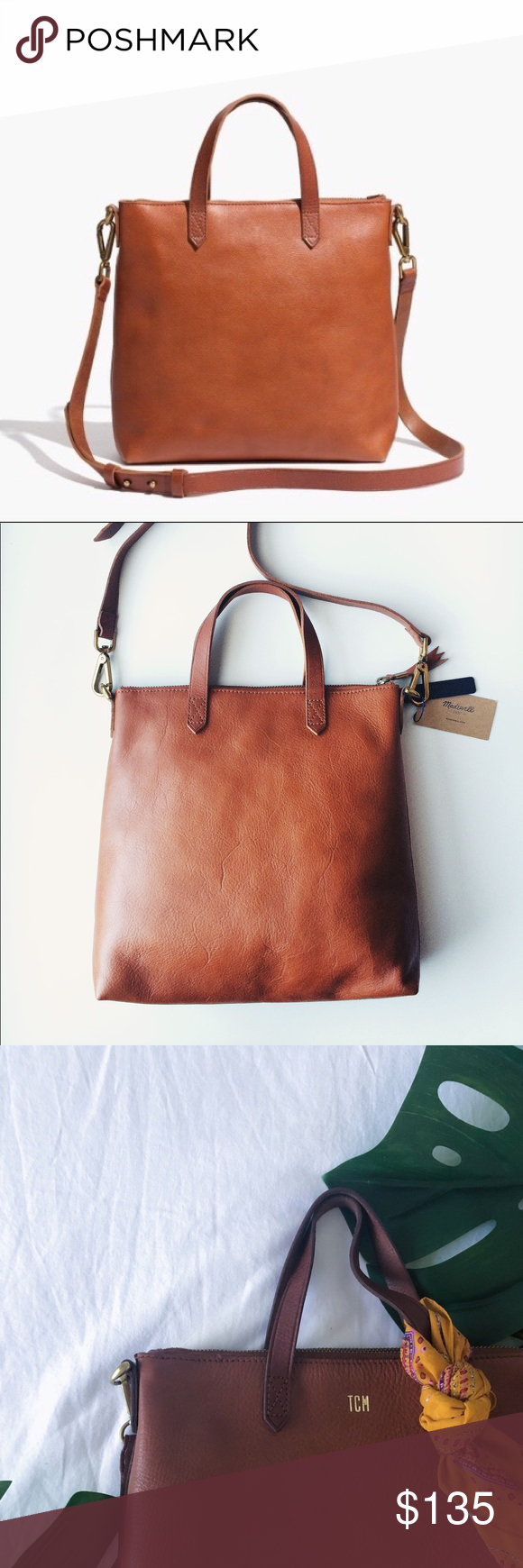 b99a590b0 Madewell small transport leather crossbody MADEWELL SMALL CROSSBODY TOTE  Color: English Saddle Use a few