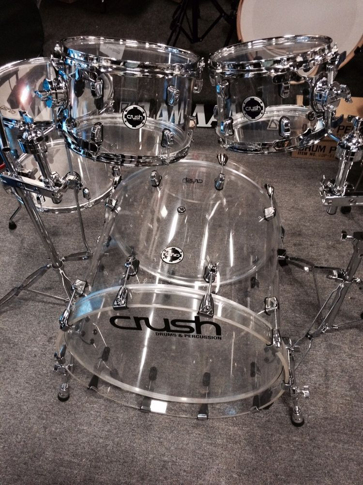 crush acrylic 4 piece drum set with holders and cymbal stands acrylic drums guitars 4. Black Bedroom Furniture Sets. Home Design Ideas