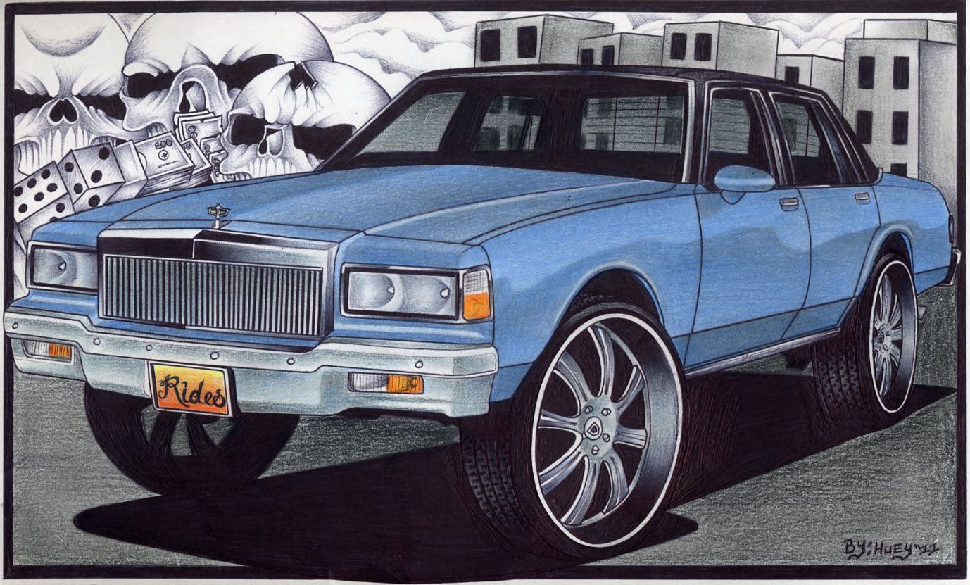 green cars with big rims | drawing by anthony clark of eddyville ...