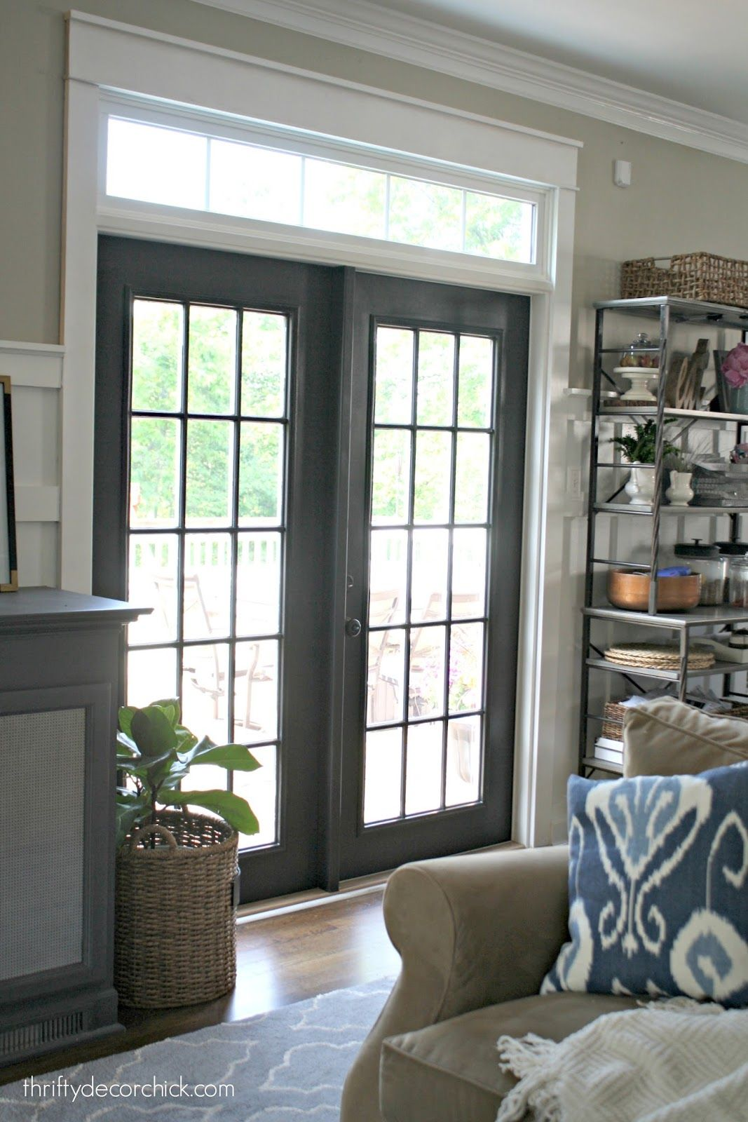 Black french doors with transom kitchen sliding glass door