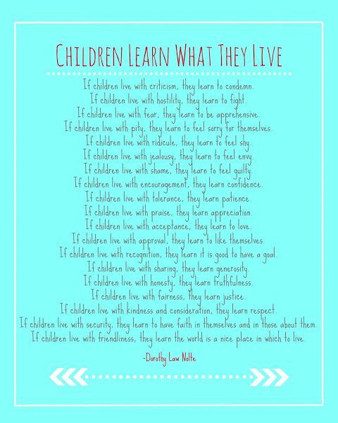 Children Learn What They Live by Dorothy Law Nolte I had this exact - fresh invitation to tender law definition